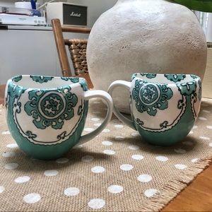 Anthropologie Home Paisley Coffee Mugs Set of 2